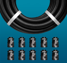 Black & White Polypropylene Contractor Packs with Push-Fit Fittings
